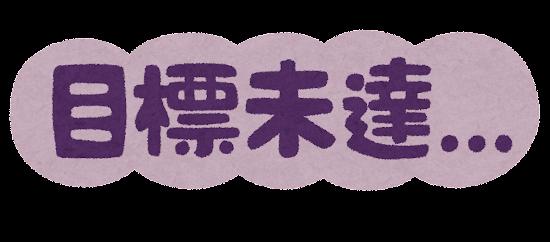 「目標未達」のイラスト文字