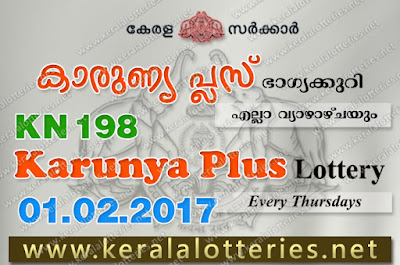 Kerala Lottery Results  1-Feb-2018 Karunya Plus KN-198 www.keralalotteries.net
