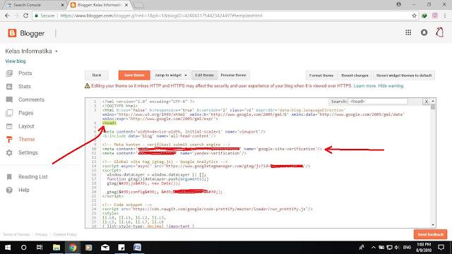 Kelas Informatika - Menambahkan Meta Tag Google Webmaster Tools