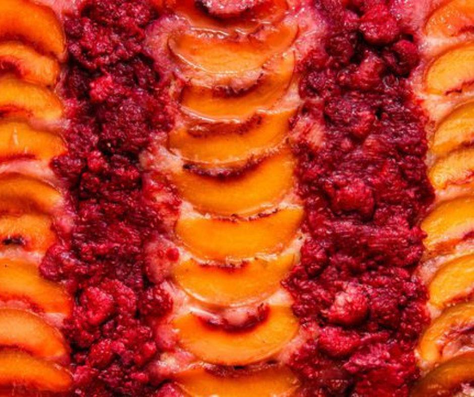 Raspberry Peach Upside-Down Cake - food-drink-recipes.com
