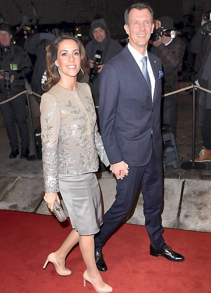 Crown Princess Mary wore Dolce Gabbana Gown, and wore Prada Leather Pumps, Gold diamond earrings. Princess Marie wore Satin Dress