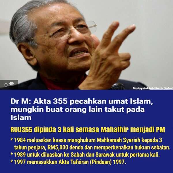 RUU355: Masa Jadi PM Mahathir Pinda Tiga Kali, Sekarang Kata Akan Memecahbelahkan Orang Melayu