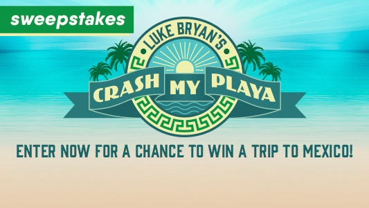 Country Music Television wants you to enter daily for a chance to win a trip to Mexico to attend Luke Bryan's Crash My Playa Party, complete with Luke Bryan merchandise and more!