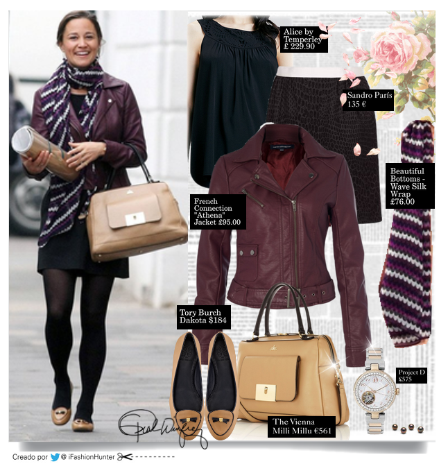 "PIPPA MIDDLETON LOOK  JACKET: ""Athena"" by French Connection. £95.00  FALDA: Sandro 135 €  ZAPATOS: ""Dakota"" Loafers by  Tory Burch  $275.00   SCARF: by Beautiful Bottoms London  Wave Silk Wrap  £76.00  BOLSO: ""The Vienna"" by Milli Millu €561"