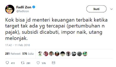 Fadli Zon: Kok Bisa Sri Mulyani Jadi Menteri Keuangan Terbaik Dunia? - Info Presiden Jokowi Dan Pemerintah