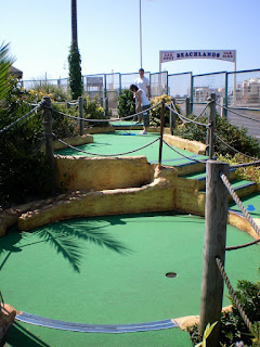 Emily putting at the 11-hole Pirate-themed Adventure Golf course at the Funland Themepark in 2008. The course was the 69th played on our tour. The blog post about our visit doesn't include a single photo of me, that's a rarity!
