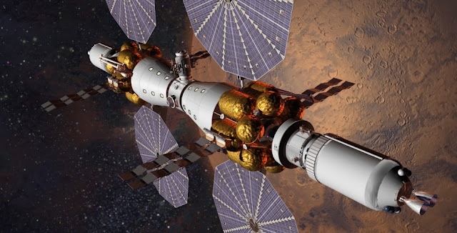 Lockheed Martin proposes utilizing the Space Launch System rocket as well as the Orion spacecraft, Solar Electric Propulsion, and space habitats to send six people to Mars orbit by 2028. There, they will be able to conduct telerobotics from orbit, explore the Red Planet's moons, and more. Image Credit: Lockheed Martin