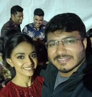 Keerthy Suresh in Maroon Dress with Cute and Awesome Lovely Smile Latest Selfie