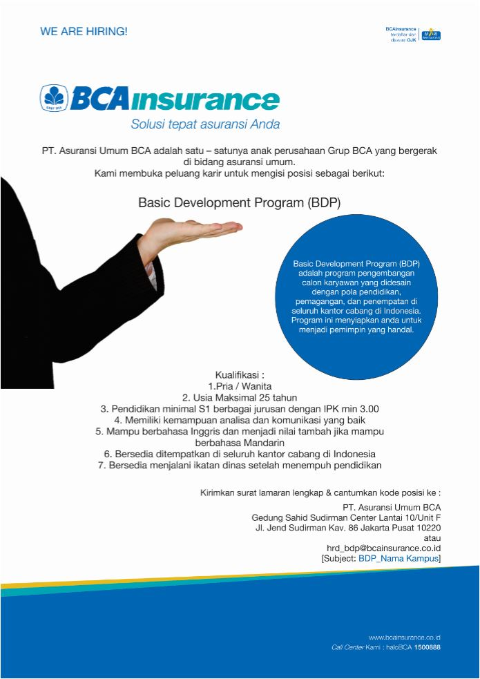 Lowongan Kerja BCAinsurance Minimal S1 Berbagai Jurusan
