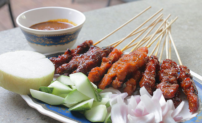 Chicken, Mutton, Beef Satay and Ketupat