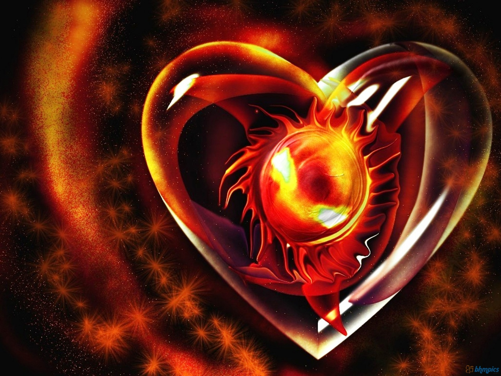 Fire heart Wallpapers | HD Wallpapers Pics