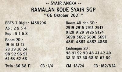 Syair sgp 06 Oktober 2021