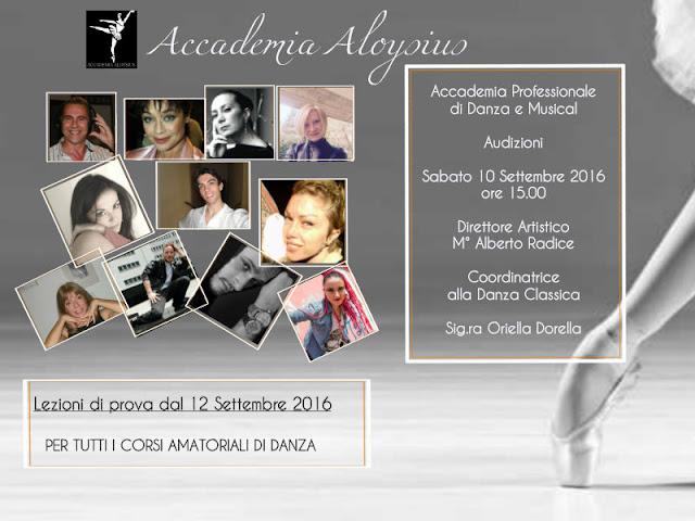 Audizioni per ammissioni ai corsi professionali di danza Accademia Aloysius