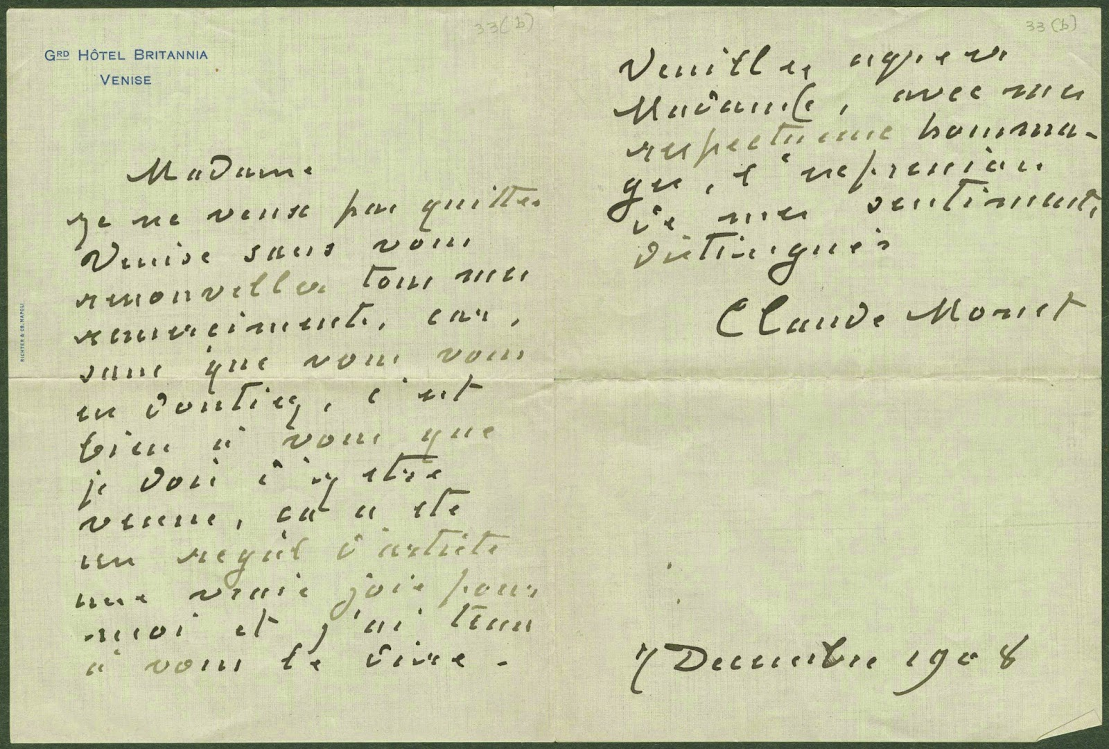 A handwritten letter from Monet.