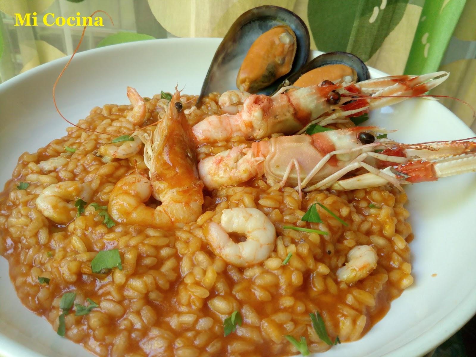 Mi cocina arroz meloso con cigalas gambas mejillones y for Mi cocina malaga