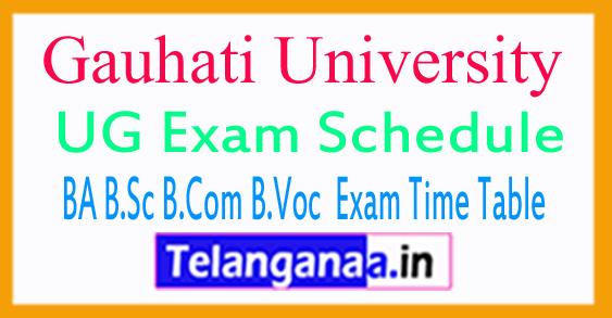 Gauhati Univ Exam Schedule 2018 1st 3rd 5th Sem BA B.Sc B.Com B.Voc  Exam Time Table