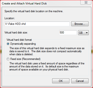 fake hard disk size