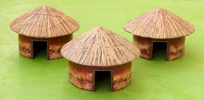 3 mud huts