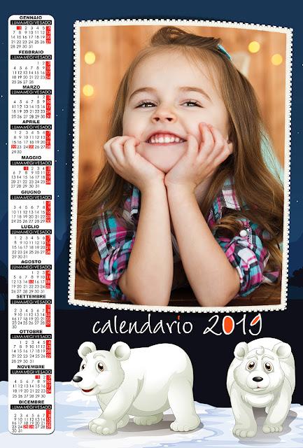 Calendario 2019 per bambini con spazio per foto verticale