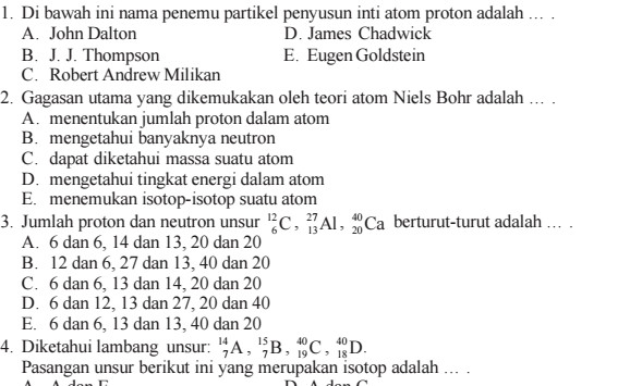 Soal UAS Kimia SMA Kelas 10 Semester 1 Terbaru