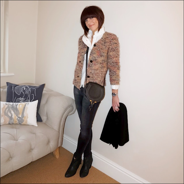 My Midlife Fashion, IRO Paris Helga jacket, uniqlo high collar frill blouse, zara skinny jeans, chloe marcie across body bag, ash jess ankle boots, zara cashmere scarf