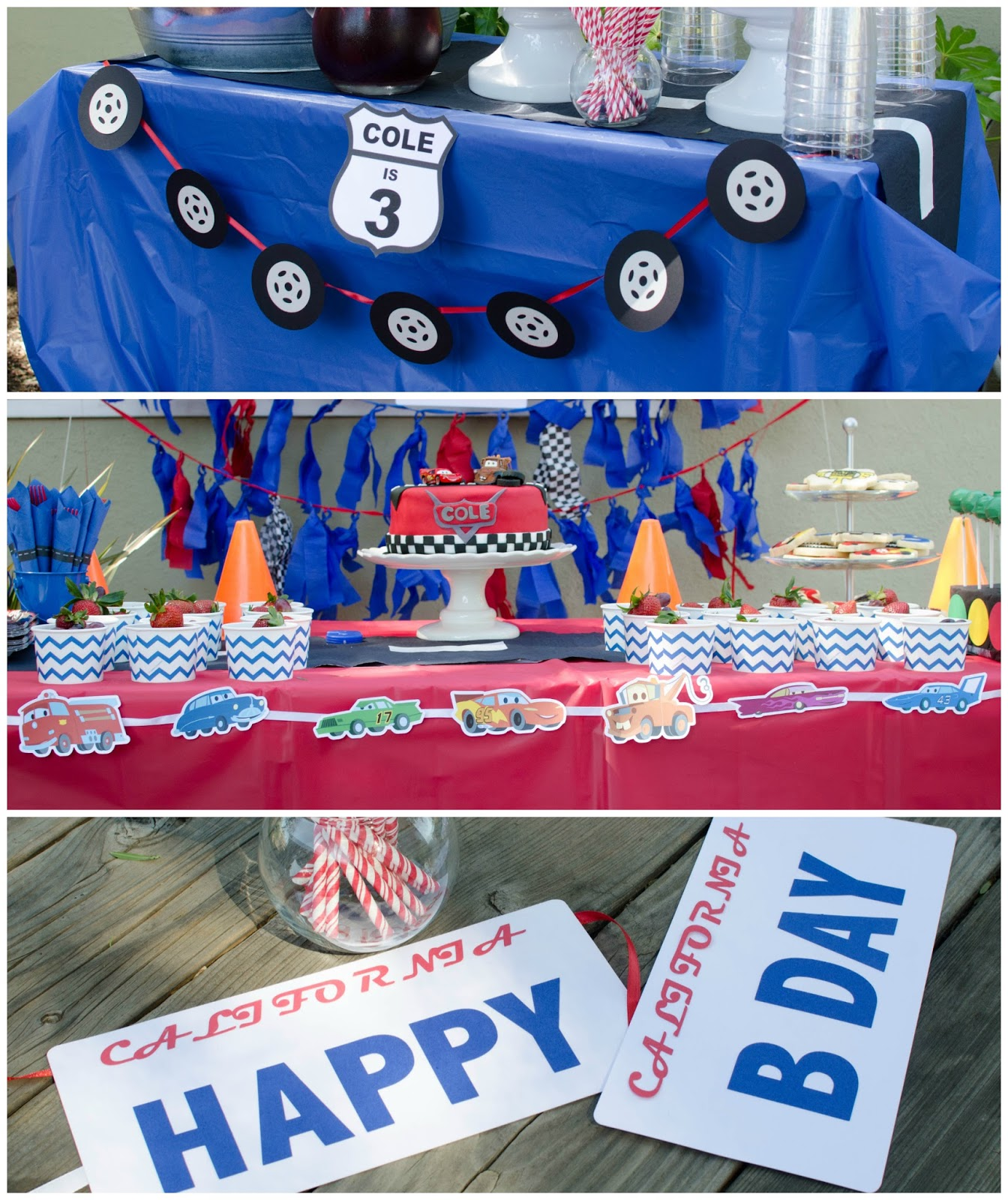 All The Tables Were Covered With Red And Blue Table Covers To Which I Added DIY Road Runners Traffic Cones Or Cozy As My Sons Calls Them