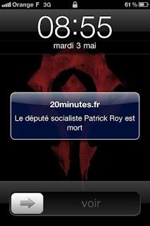 Screen écran de l'annonce du décès de Patrick Roy par 20Minutes.fr