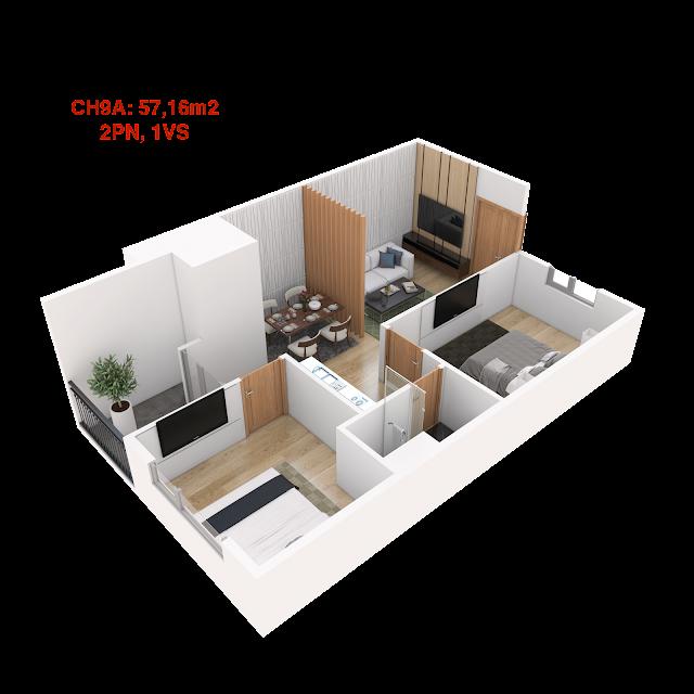 Thiết kế căn hộ 9A tháp doanh nhân