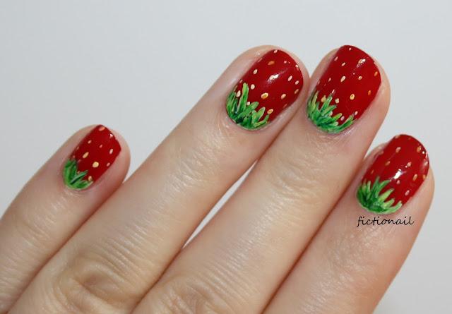 Simple Strawberry Nail Art Wimbledon