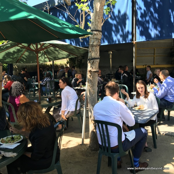 outdoor dining at Bergamot Cafe at Bergamot Station Arts Center in Santa Monica, California