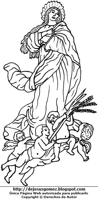 Imagen de la Virgen de la Asunción para colorear pintar imprimir. Dibujo de la Virgen de la Asunción de Jesus Gómez