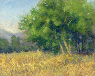 landscape painting pastel nature morning summer field tree