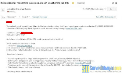 Kode voucher belanja gratis dari Zalora dikirimkan melalui email | SurveiDibayar.com
