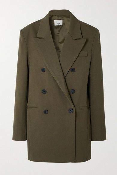 Frankie Shop Julie double-breasted gabardine blazer | Olive Green | Allegory of Vanity