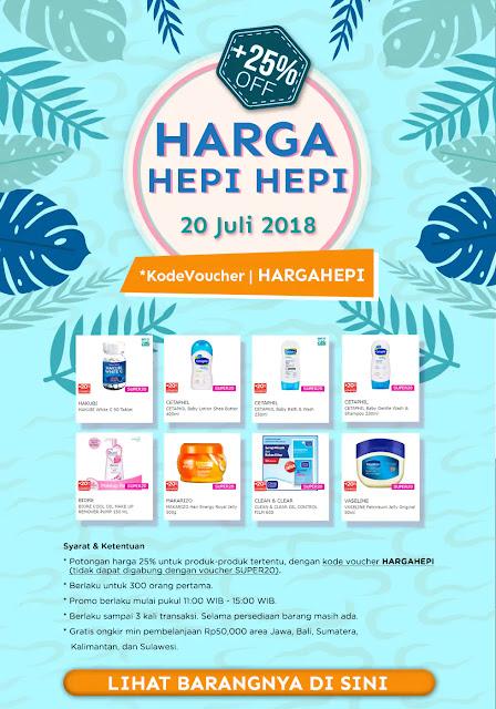 Watson - Voucher 25 % di Promo Harga Hepi Hepi Tgl 20 Juli 2018