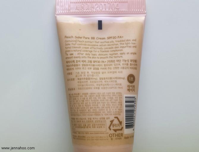 REVIEW: SKINFOOD Peach Sake Pore BB-Cream SPF20 PA+ (#1 Light Beige)