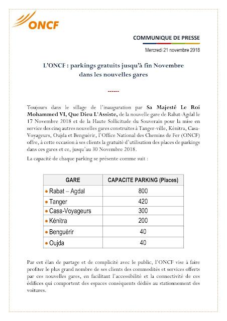 Parkings gratuits dans les nouvelles gares de l'Oncf ce mois