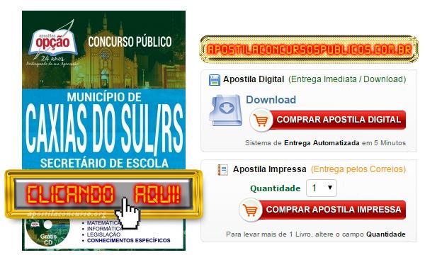 Apostila Prefeitura de Caxias do Sul 2017 PDF Secretário de Escola