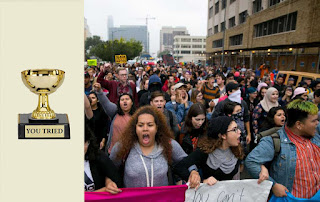 composite image of a participation trophy at left and 2016 elections protesters through the streets of New York City at right