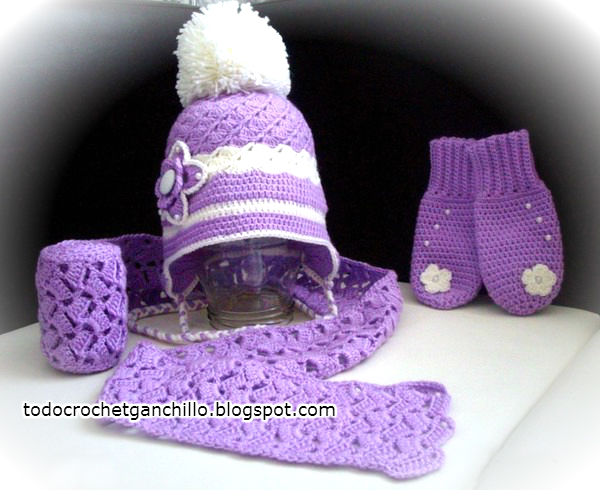 Esquemas de gorro, bufanda y mitones en composé al crochet