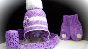 Conjunto de gorro, bufanda y mitones crochet