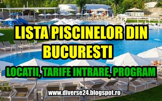 Lista piscinelor din Bucuresti - adrese, numere de telefon, tarife, program