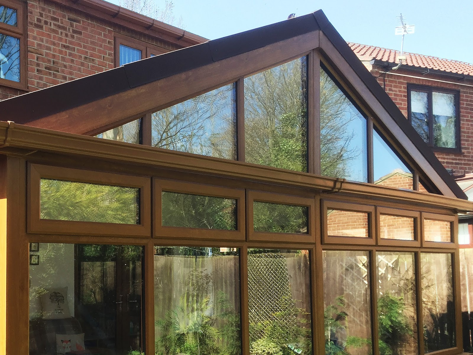 Large golden oak conservatory with supalite tiled roof for Large french windows