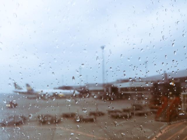 cold and rainy copenhagen airport