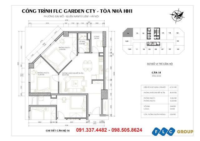 Chi tiết thiết kế căn hộ tòa HH1 – Chung cư FlC Garden City