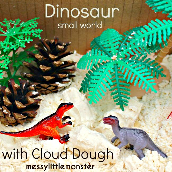 Cloud dough dinosaur small world in a box. Simple sensory play for kids.