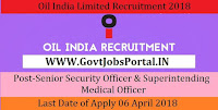 Oil India Limited Recruitment 2018 – Senior Security Officer & Superintending Medical Officer