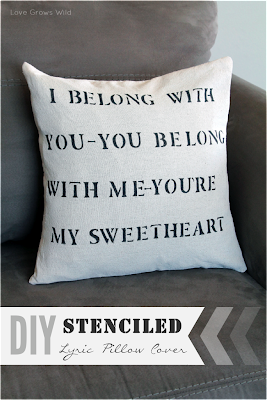 DIY Stenciled Lyric Pillow Cover