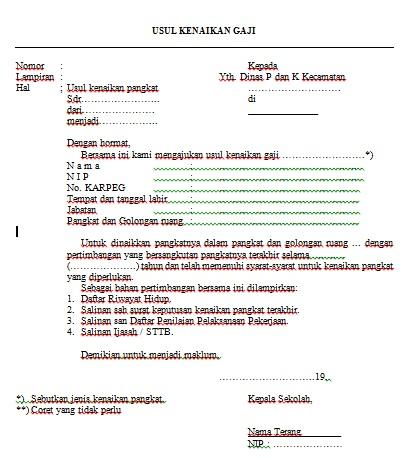 Contoh Surat Usul Kenaikan Gaji Pegawai Docx Semua Surat
