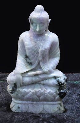 Jade Buddha sitting white and lavender color